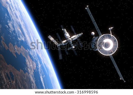 The Spacecraft Flies To Space Station. 3D Scene.