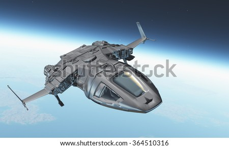 The spacecraft is flying in space on the background of the Earth. - stock photo