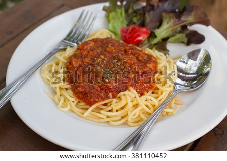 The Spaghetti in pork and spicy.