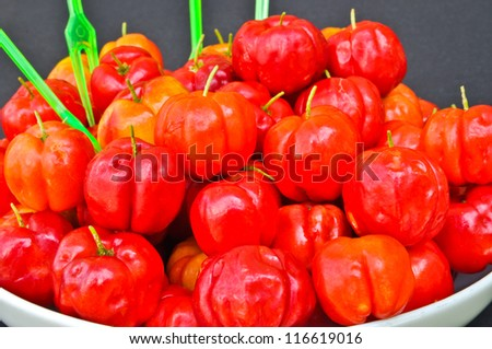 The Spanish cherry ripe on white plate - stock photo
