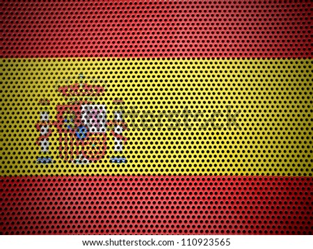 The Spanish flag painted on  metall grill
