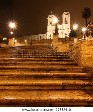 The Spanish steps at night, Rome - stock photo