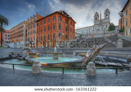 The Spanish Steps in Rome  - stock photo