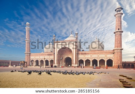 The spectacular architecture of the Great Friday Mosque (Jami Masjid) in Delhi, the most important mosque in India.  - stock photo