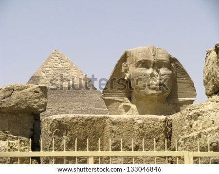 The Sphinx and Pyramid of Khafre, Giza, Egypt. - stock photo