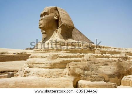 The Sphinx - mythical creature with the head of a human and the body of a lion,  are generally associated with architectural structures such as royal tombs or religious temples   Egypt, Giza