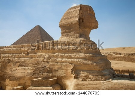 The Sphinx with the Great Pyramid in the background, Giza, Egypt
