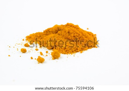 the spice Turmeric isolated on white - stock photo
