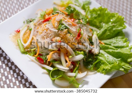 The Spicy vermicelli pork and mushroom.