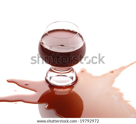 The spilled red wine