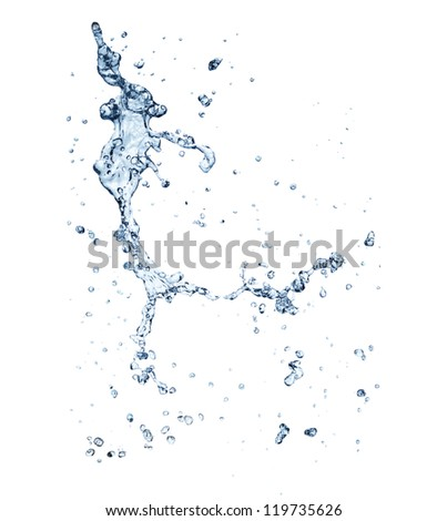 The splash splashing in the white background
