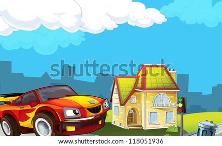 The sports car racing in the suburbs - illustration for the children