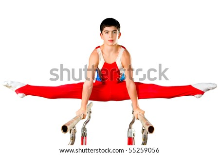 The sportsman the guy, carries out difficult exercise, sports gymnastics,on white background, isolated - stock photo