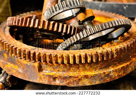 The sprocket gear to old rusty  - stock photo