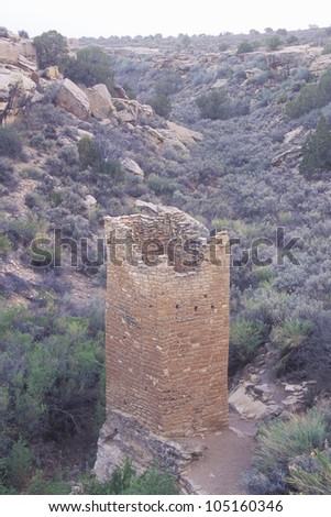 The Square Tower at  Hovenweep National Monument Indian ruins, UT - stock photo