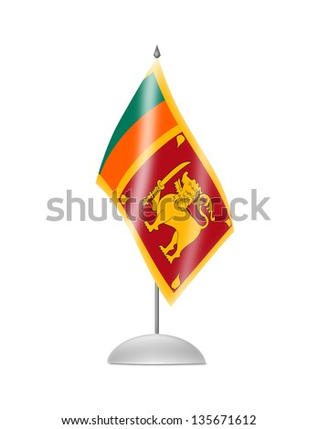 The Sri Lanka flag. Table Flag. Isolated on white.