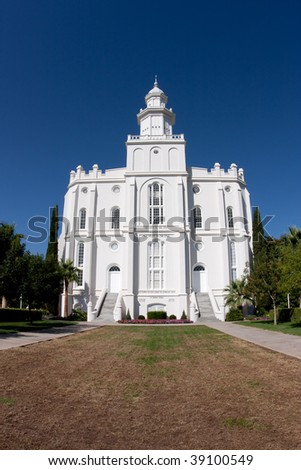 The St. George Utah Temple is the first temple completed by The Church of Jesus Christ of Latter-day Saints and is the oldest temple still actively used by the members of the Church. - stock photo