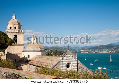 The St. Lawrence church of Portovenere in the La Spezia province of Liguria with a view on the Golf of Poets, Italy