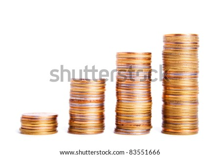 The stack of coins in the form of a diagram - stock photo