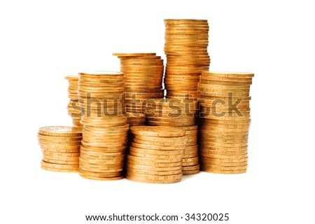 The stack of coins isolated on white