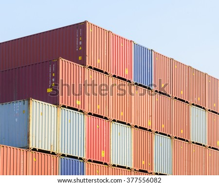 The Stack Of Container Storage In The Ship Yard At The Port Before Export  Process.