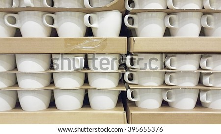 The stack of cup in the factory