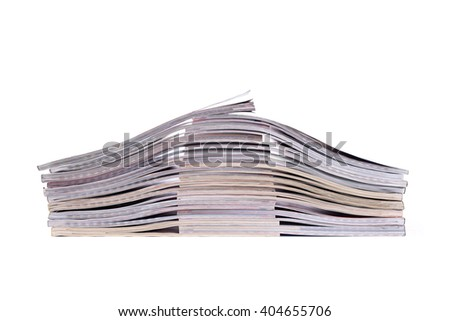 The stack of magazines  overlaps each other - stock photo