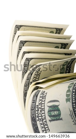 The stack of one hundred dollar isolated on a white background - stock photo