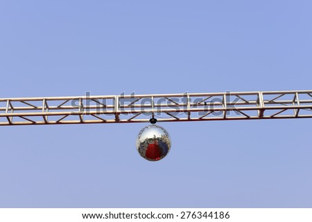 The stage lights on the metal frame - stock photo
