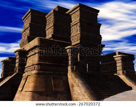 the stairs of Mayan temple - stock photo