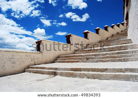 The stairs to the Potala Palace - stock photo
