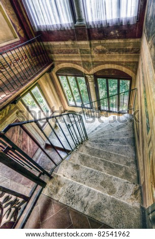 The stairways of a beautiful Villa in Tuscany, Montalcino. - stock photo