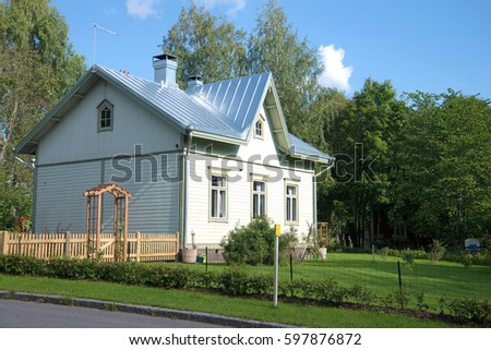 The standard wooden house built at the end of the 19th century for workers of the railroad. Kouvola, Finland