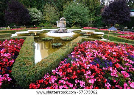 The star pond inside the historic butchart gardens (over 100 years in bloom), vancouver island, british columbia, canada