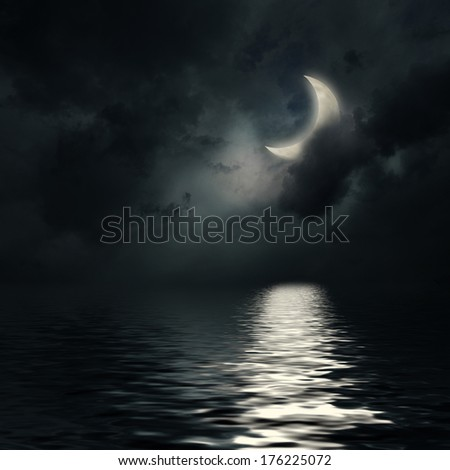 The starry night sky background in dark blue colors - stock photo