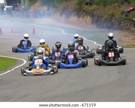 The start of a go kart race - stock photo