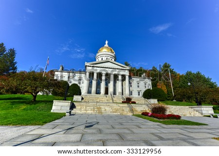 The State Capitol Building in Montpelier Vermont, USA. The current Greek Revival structure is the third building on the same site to be used as the State House. It was occupied in 1859.