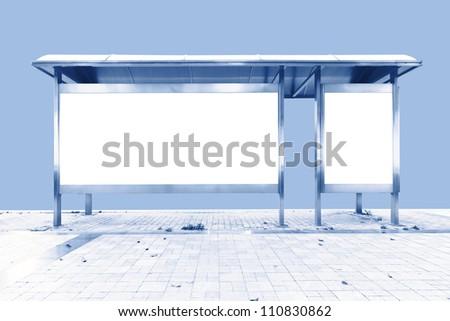 The station blank billboard - stock photo