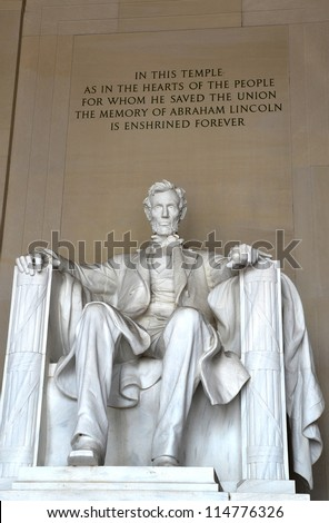 The statue of Abraham Lincoln inside Lincoln Memorial in Washington DC