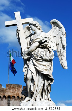 The statue of angel with European flags in a background (Rome, Italy).