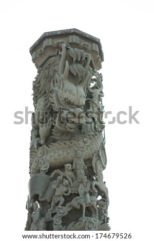 The statue of antique Chinese style dragon around a stone pole