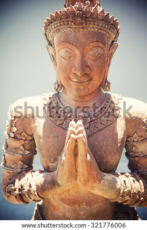 The Statue of Buddha made from stone - stock photo