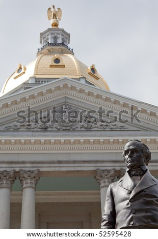 The statue of Daniel Webster at the New Hampshire State House. The statue was designed in 1853. - stock photo