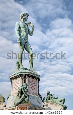the statue of David on Piazzale Michelangelo in Florence. Tuscany. Italy - stock photo