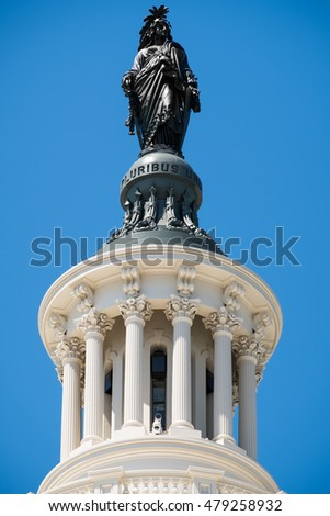 The Statue of Freedom on top of the US Capitol building in Washington D.C.