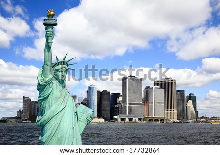 The Statue of Liberty and Lower Manhattan Skylines New York City