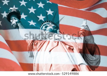 The Statue of Liberty and United States flag