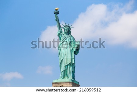The Statue of Liberty closeup during the day