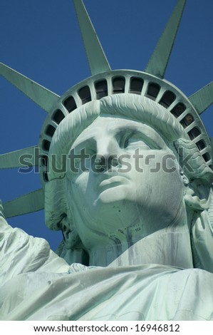 The Statue of Liberty Enlightening the World was a gift of friendship from the people of France to the people of the United States and is a universal symbol of freedom and democracy. - stock photo