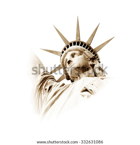 The Statue of Liberty in Retro colours, New York, USA - stock photo